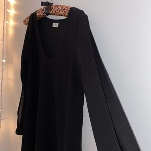 Tobi Black Long Sleeve Sleeve Slit Swing Dress